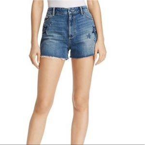 NWT PAIGE Margot Patchwork Denim Shorts